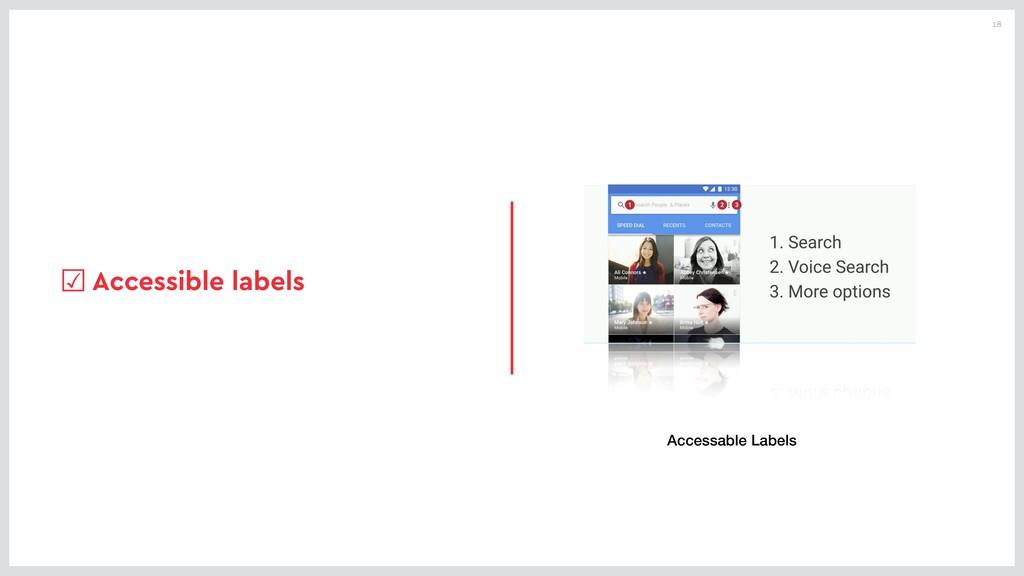 18 ☑Accessible labels Accessable Labels