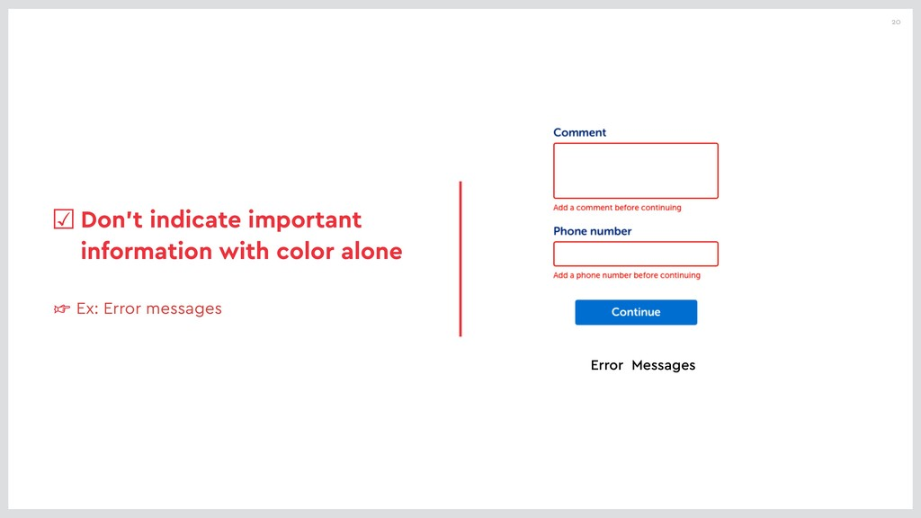 20 ☞ Ex: Error messages ☑Don't indicate importa...