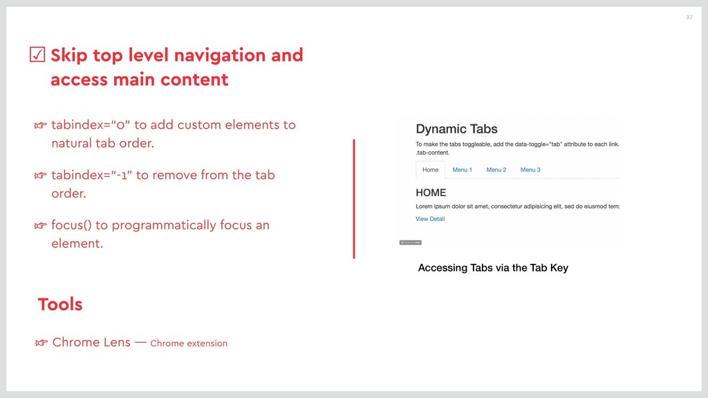 """27 ☞ tabindex=""""0"""" to add custom elements to nat..."""