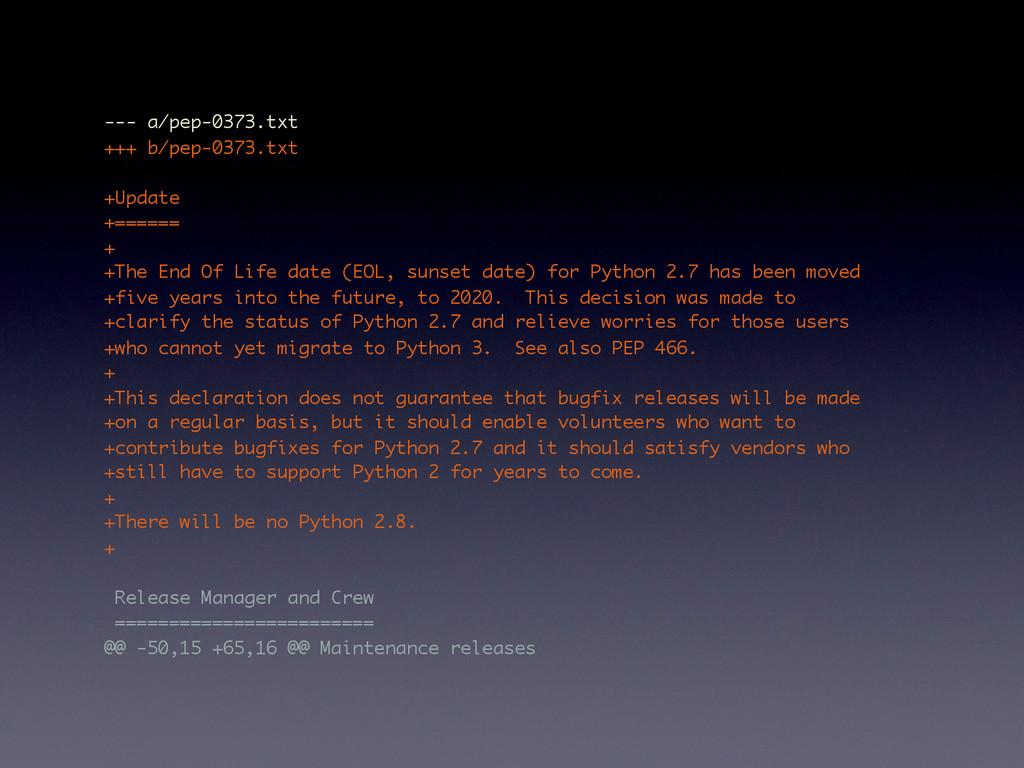 --- a/pep-0373.txt +++ b/pep-0373.txt +Update +...