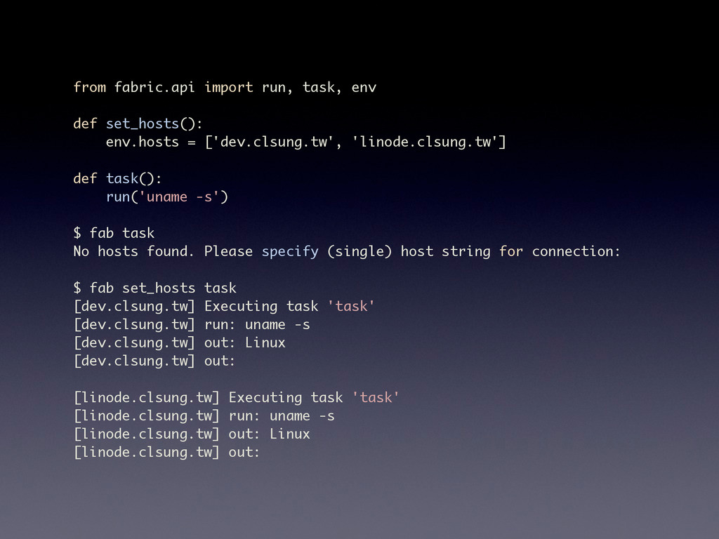 from fabric.api import run, task, env def set_h...