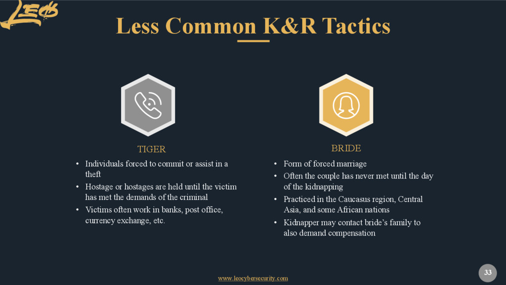 www.leocybersecurity.com 33 Less Common K&R Tac...