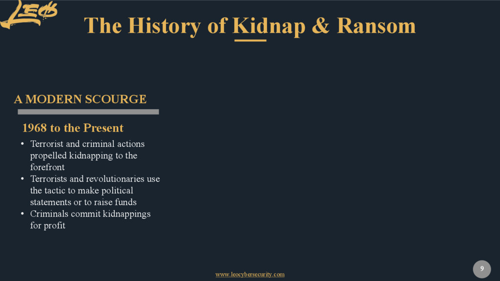 www.leocybersecurity.com 9 The History of Kidna...