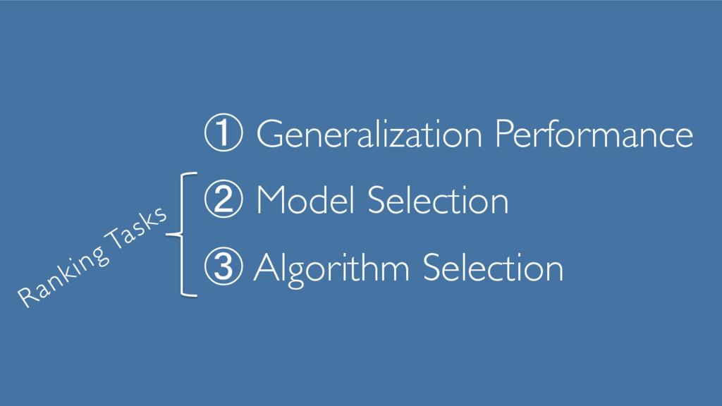① Generalization Performance ② Model Selectio...
