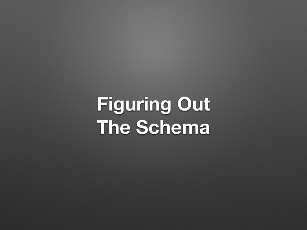 Figuring Out The Schema