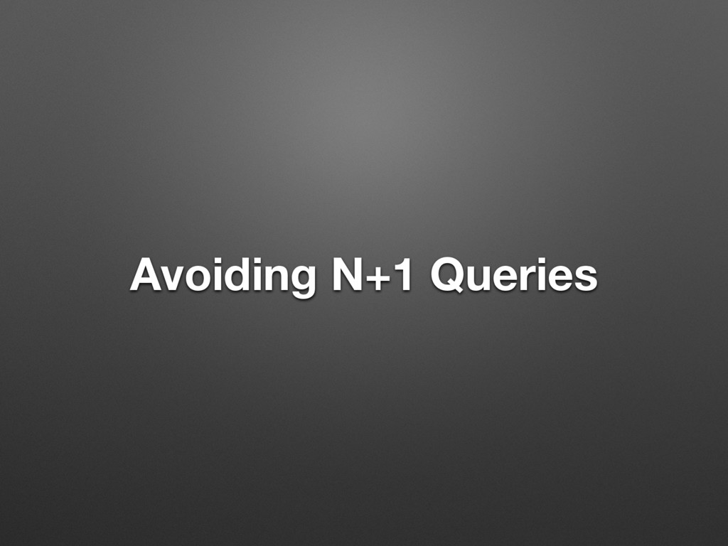 Avoiding N+1 Queries