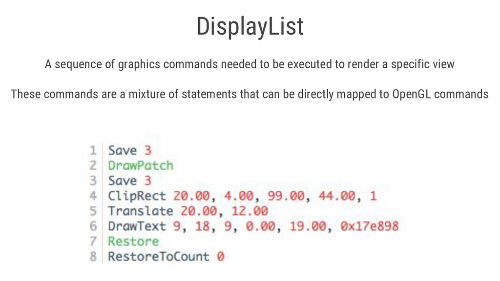 DisplayList A sequence of graphics commands nee...
