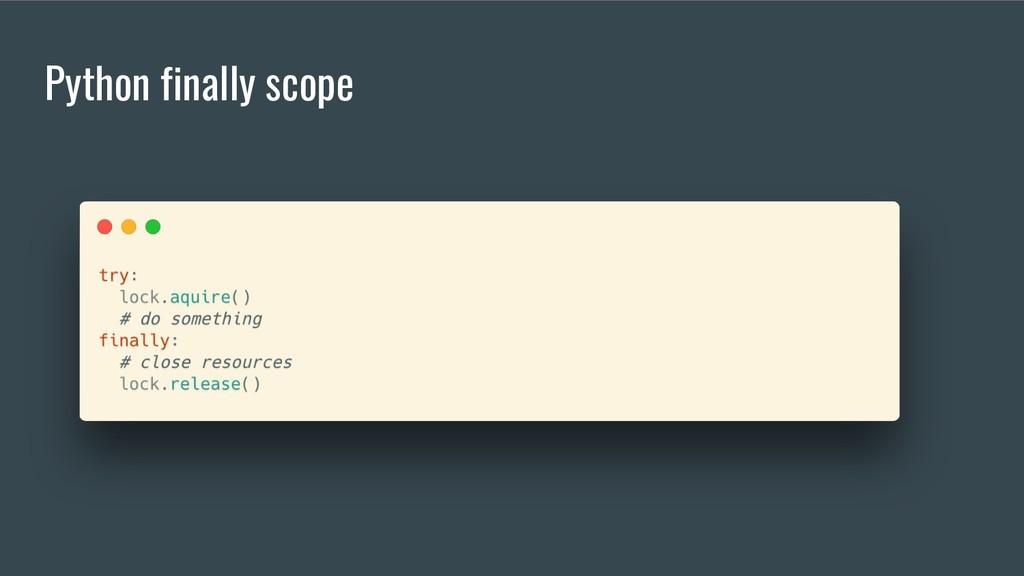 Python finally scope