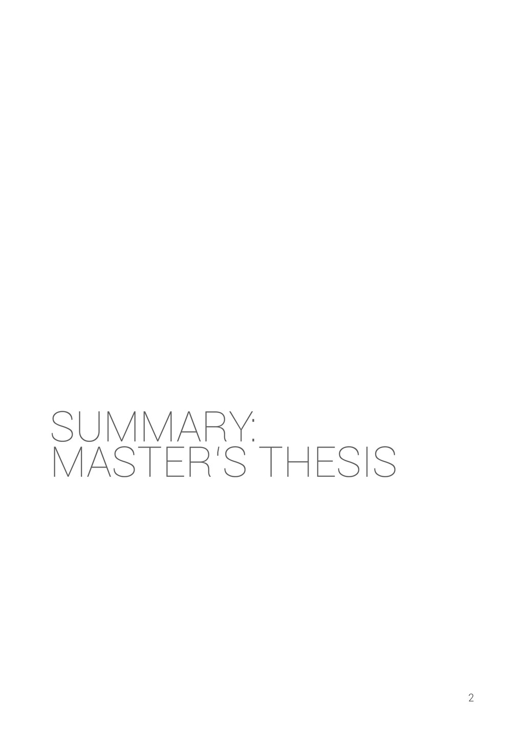 SUMMARY: MASTER'S THESIS 2