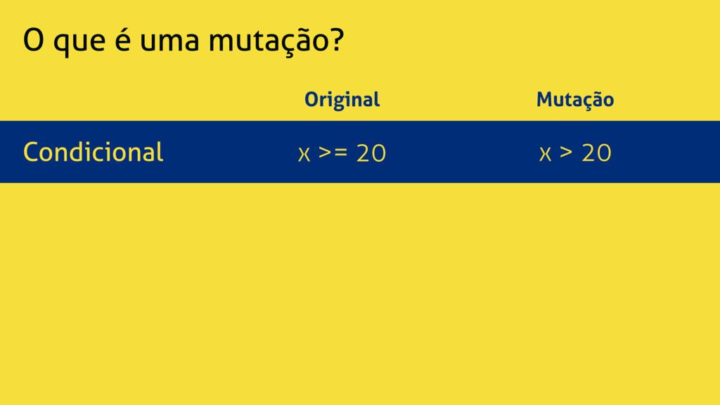 O que é uma mutação? Original Mutação Condicion...