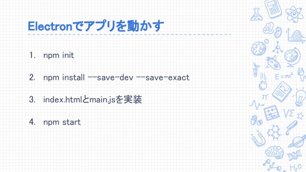 Electronでアプリを動かす 1. npm init 2. npm install --s...