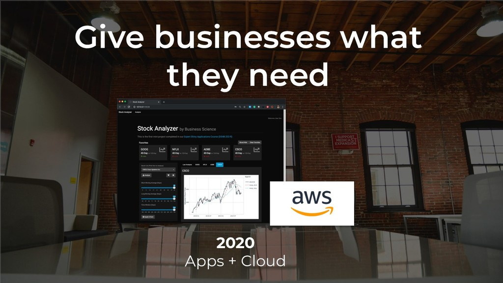 Give businesses what they need 2020 Apps + Cloud