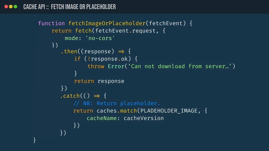 CACHE API :: Fetch image or placeholder functio...