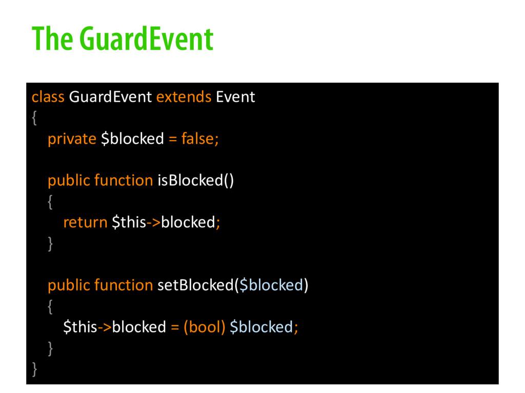 The GuardEvent class GuardEvent extends Event {...