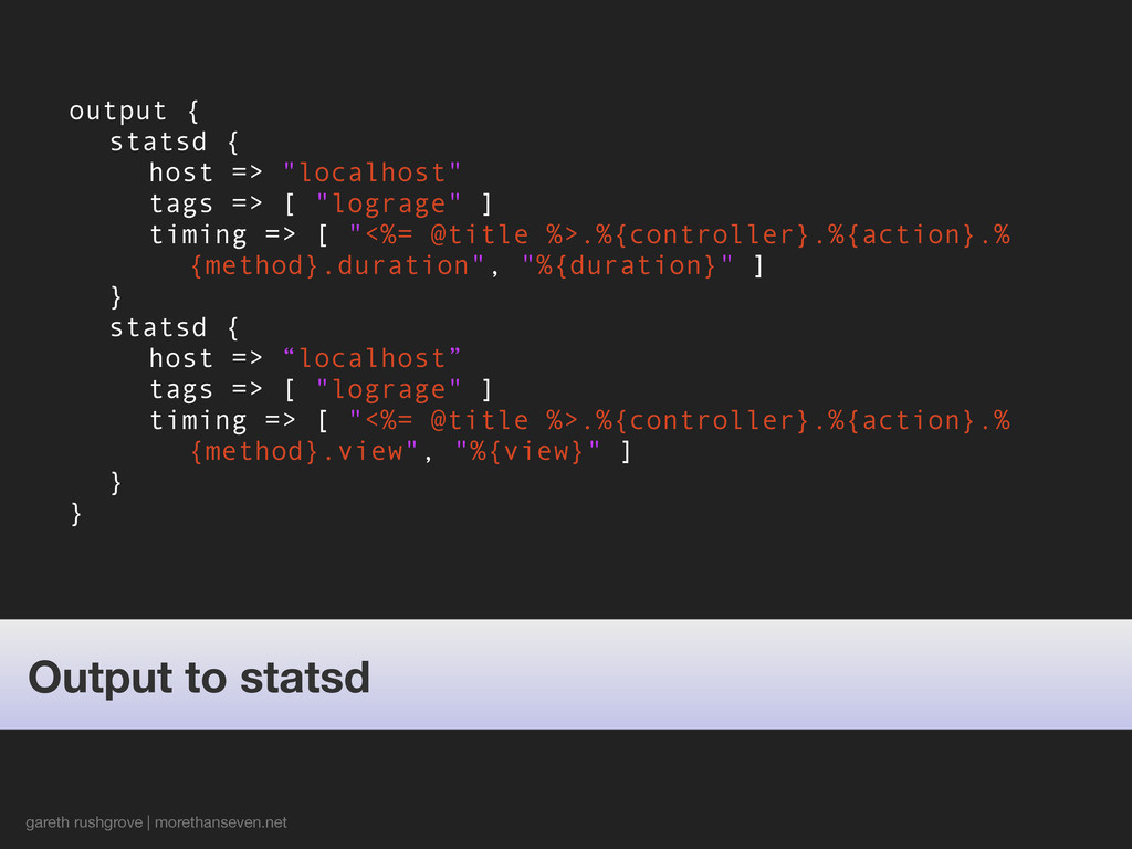 "output { statsd { host => ""localhost"" tags => [..."