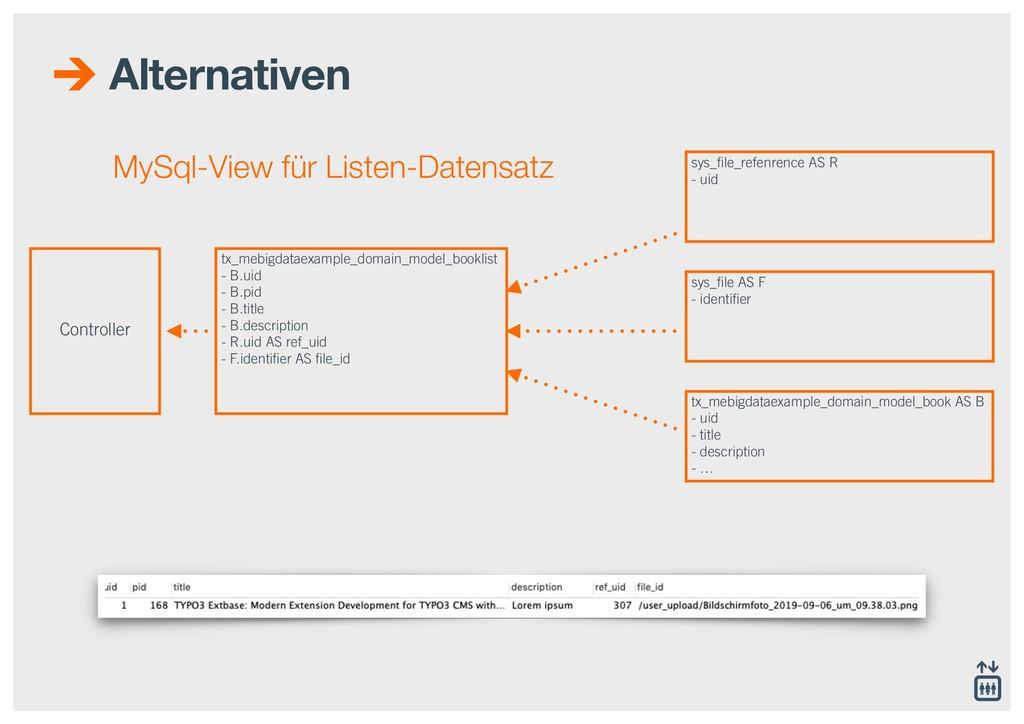 Alternativen MySql-View für Listen-Datensatz Co...