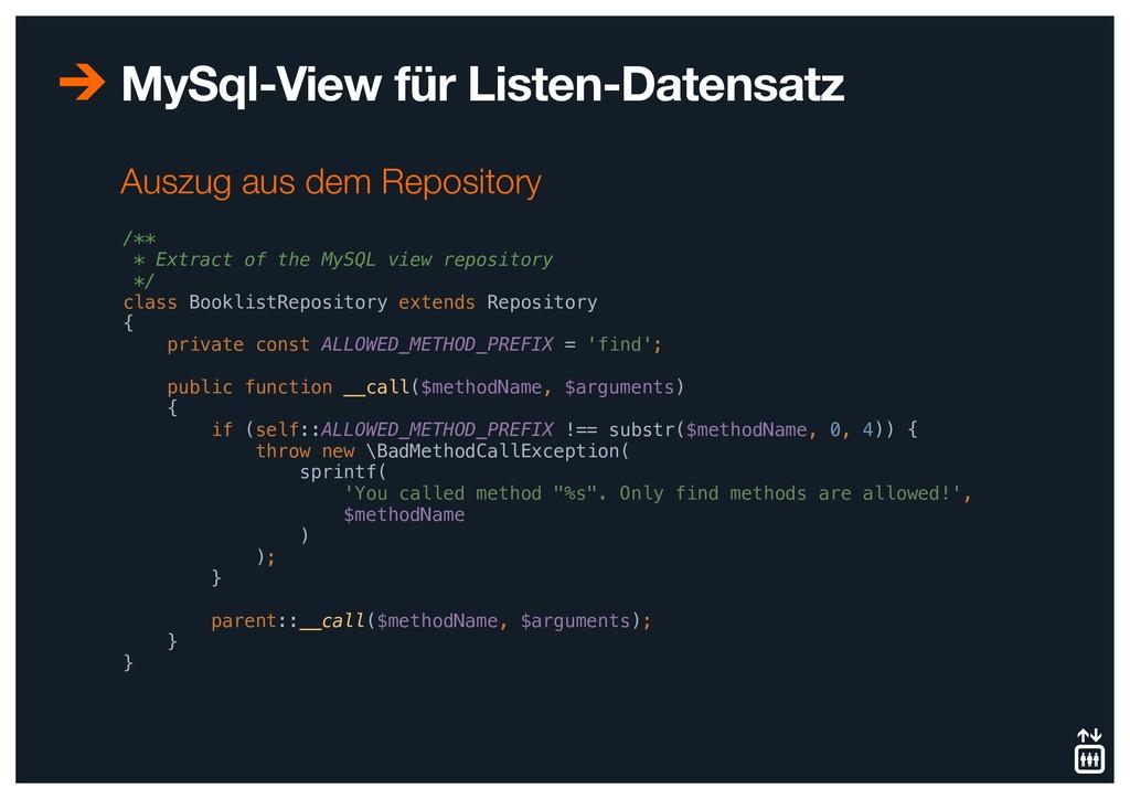 MySql-View für Listen-Datensatz /** * Extract o...