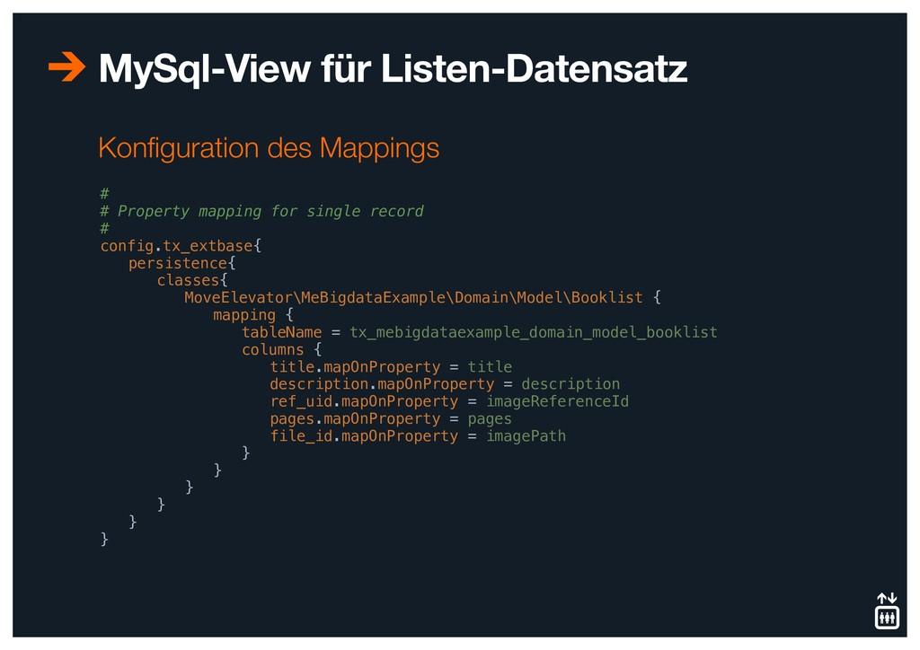 MySql-View für Listen-Datensatz # # Property ma...