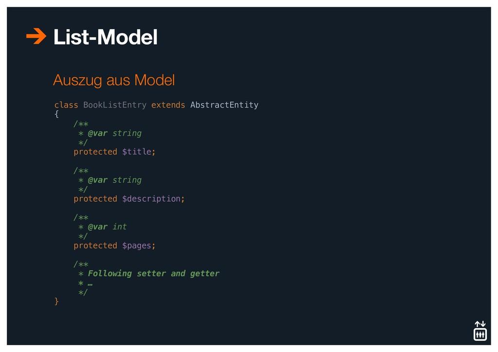 List-Model class BookListEntry extends Abstract...