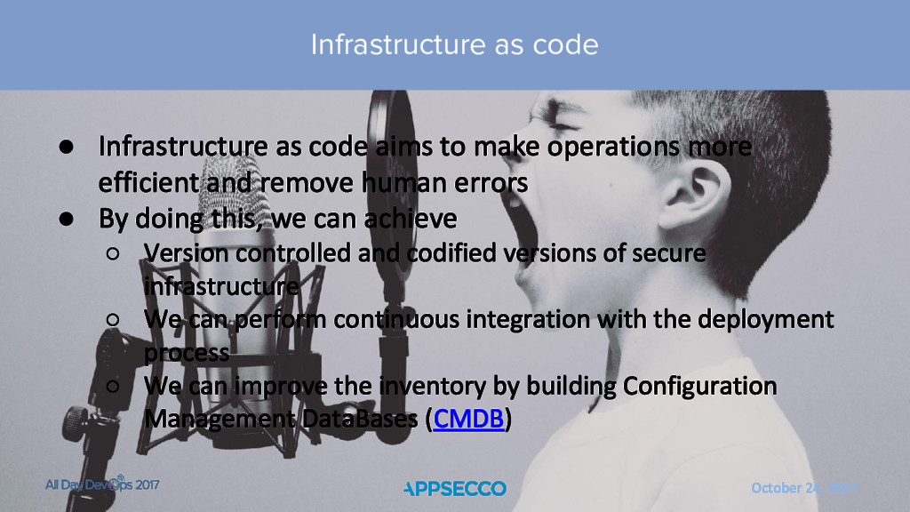 October 24, 2017 ● Infrastructure as code aims ...
