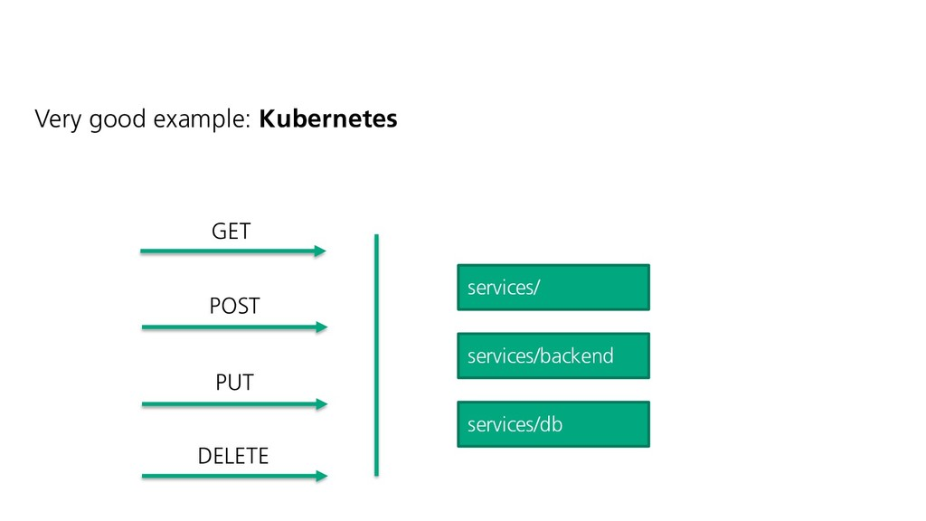 Very good example: Kubernetes services/ service...