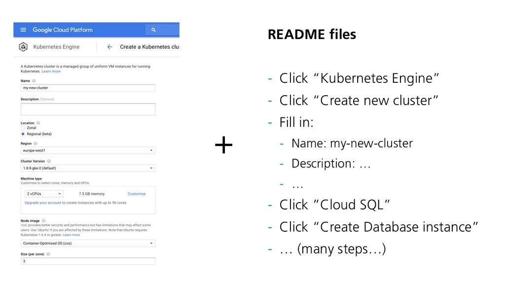 "README files - Click ""Kubernetes Engine"" - Clic..."