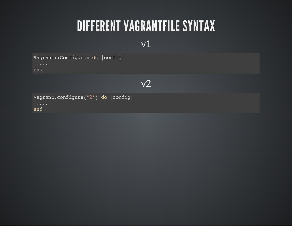 DIFFERENT VAGRANTFILE SYNTAX v1 V a g r a n t :...