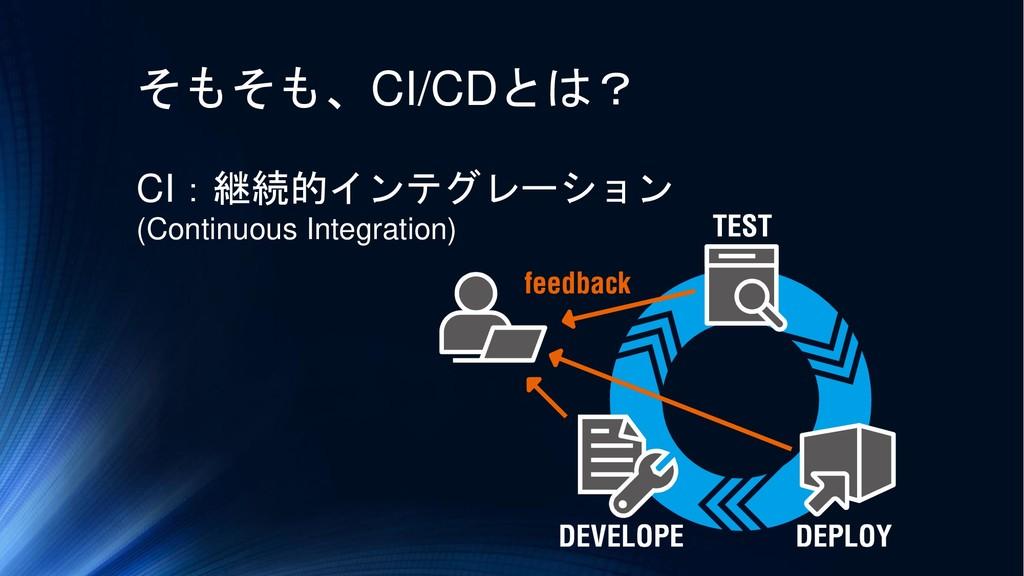 そもそも、CI/CDとは? CI:継続的インテグレーション (Continuous Integ...