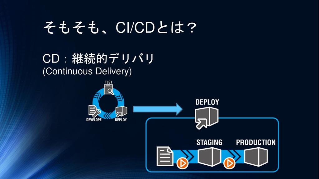 そもそも、CI/CDとは? CD:継続的デリバリ (Continuous Delivery)