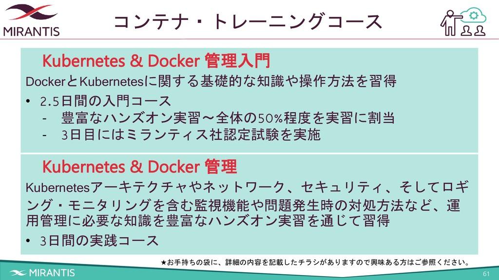 61 コンテナ・トレーニングコース Kubernetes & Docker 管理入門 Dock...