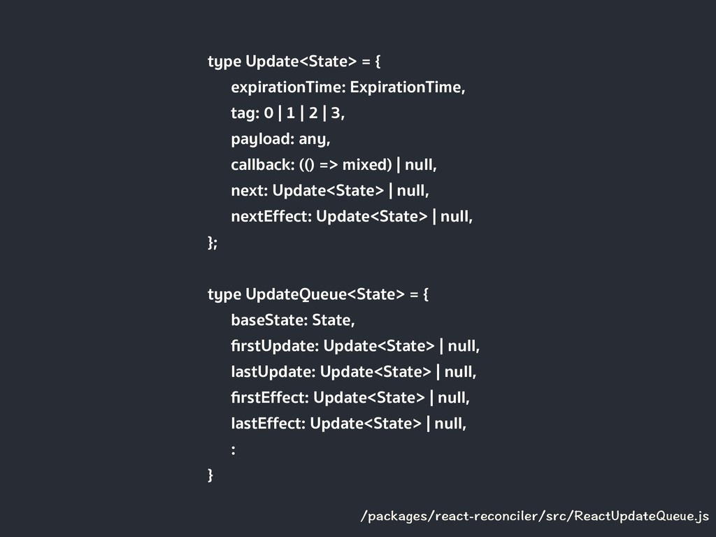type Update<State> = { expirationTime: Expirati...