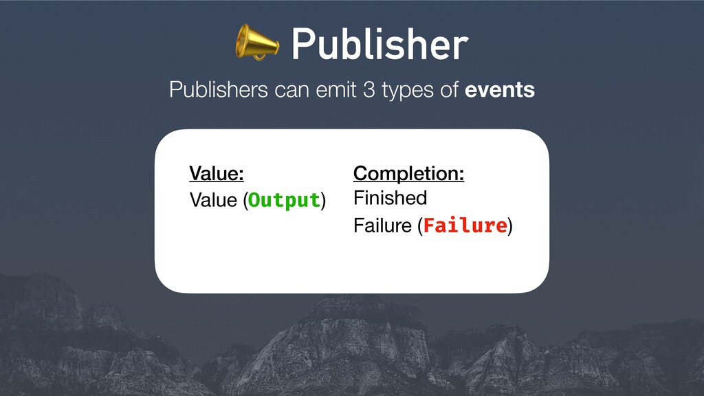 Publishers can emit 3 types of events Finished ...