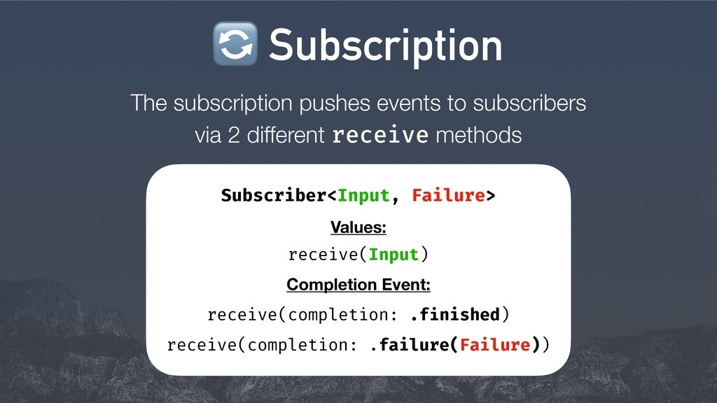 The subscription pushes events to subscribers v...