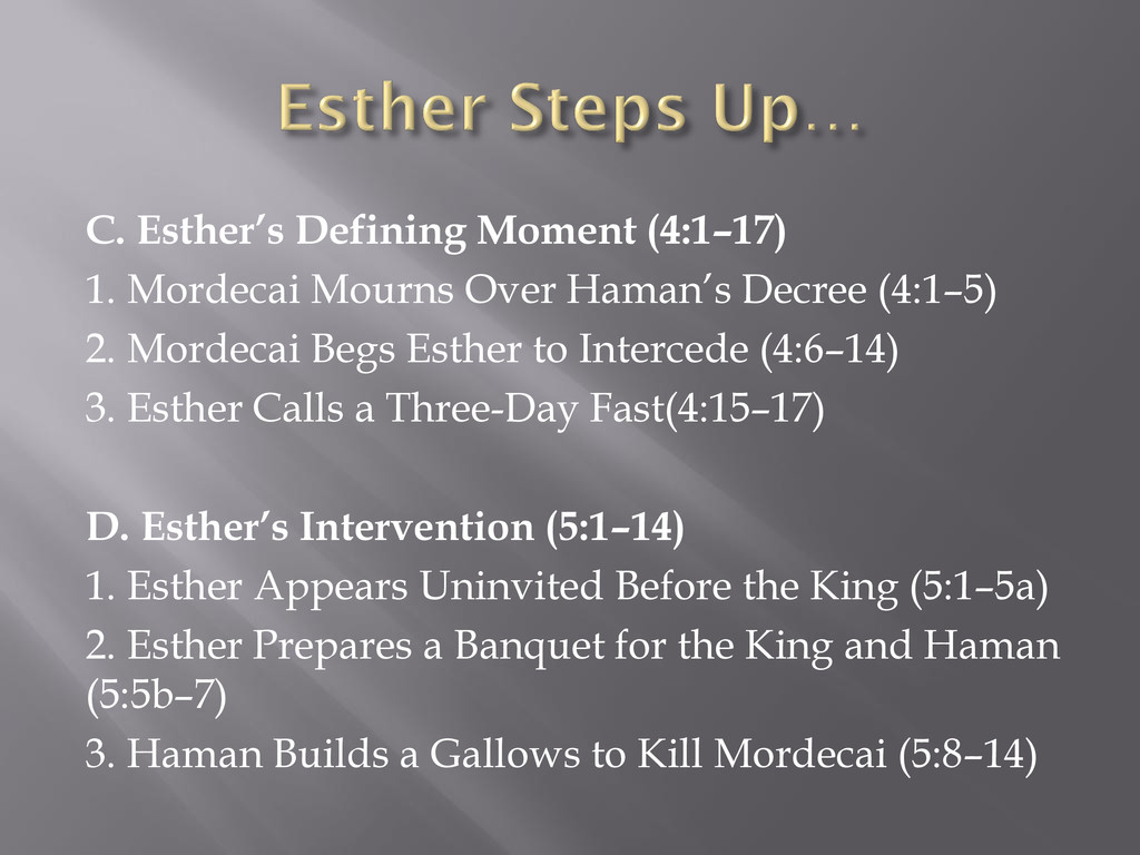 C. Esther's Defining Moment (4:1–17) 1. Mordeca...