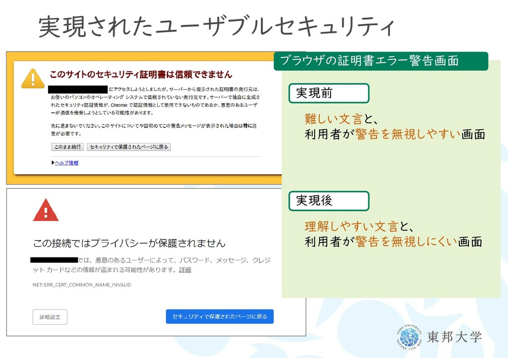 実現されたユーザブルセキュリティ ブラウザの証明書エラー警告画面 実現前 難しい文言と、 利用...