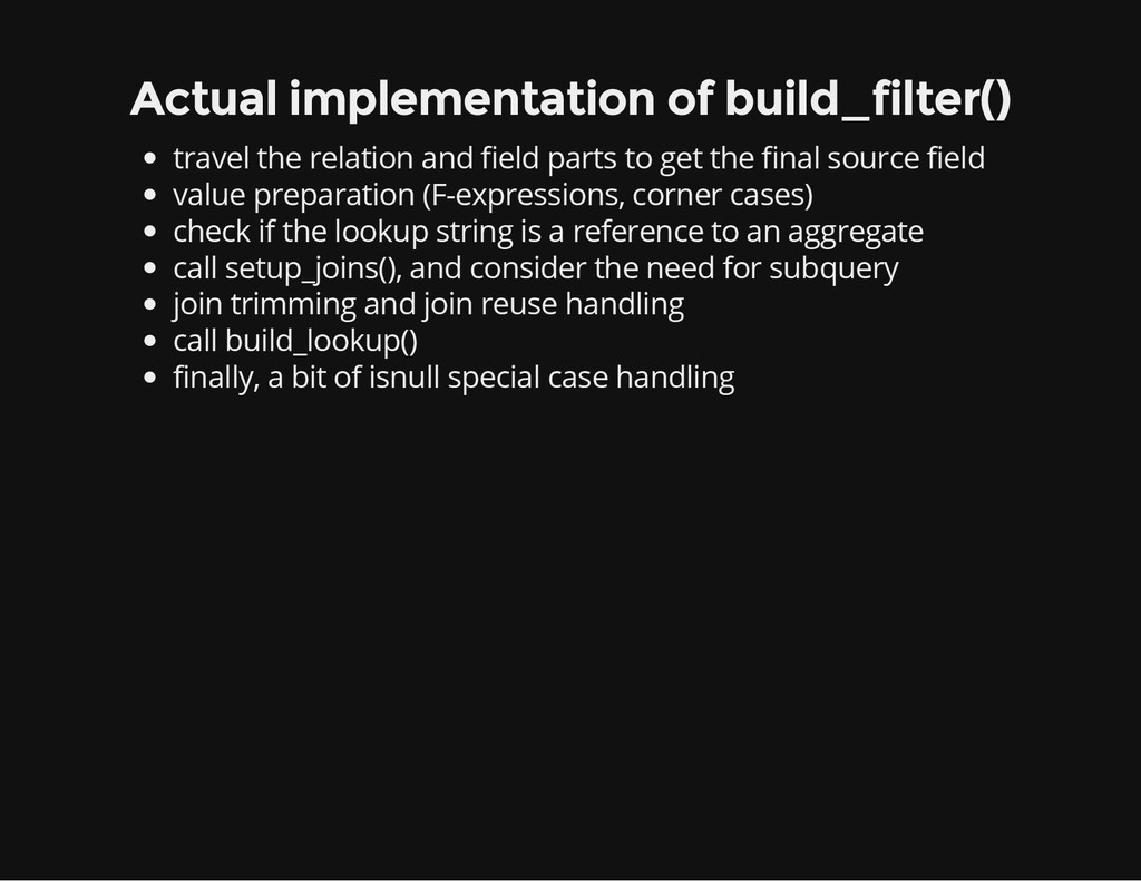 Actual implementation of build_filter() travel ...