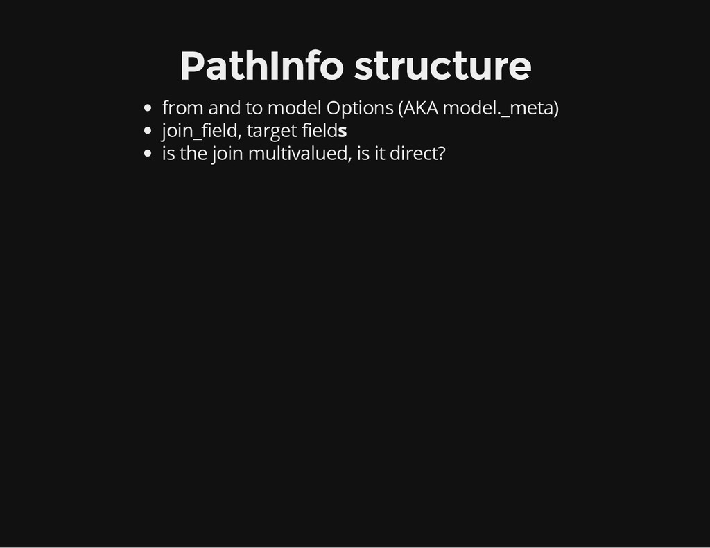 PathInfo structure from and to model Options (A...