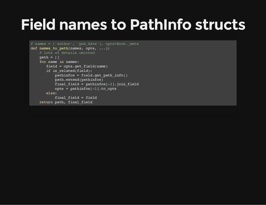 Field names to PathInfo structs # n a m e s = [...