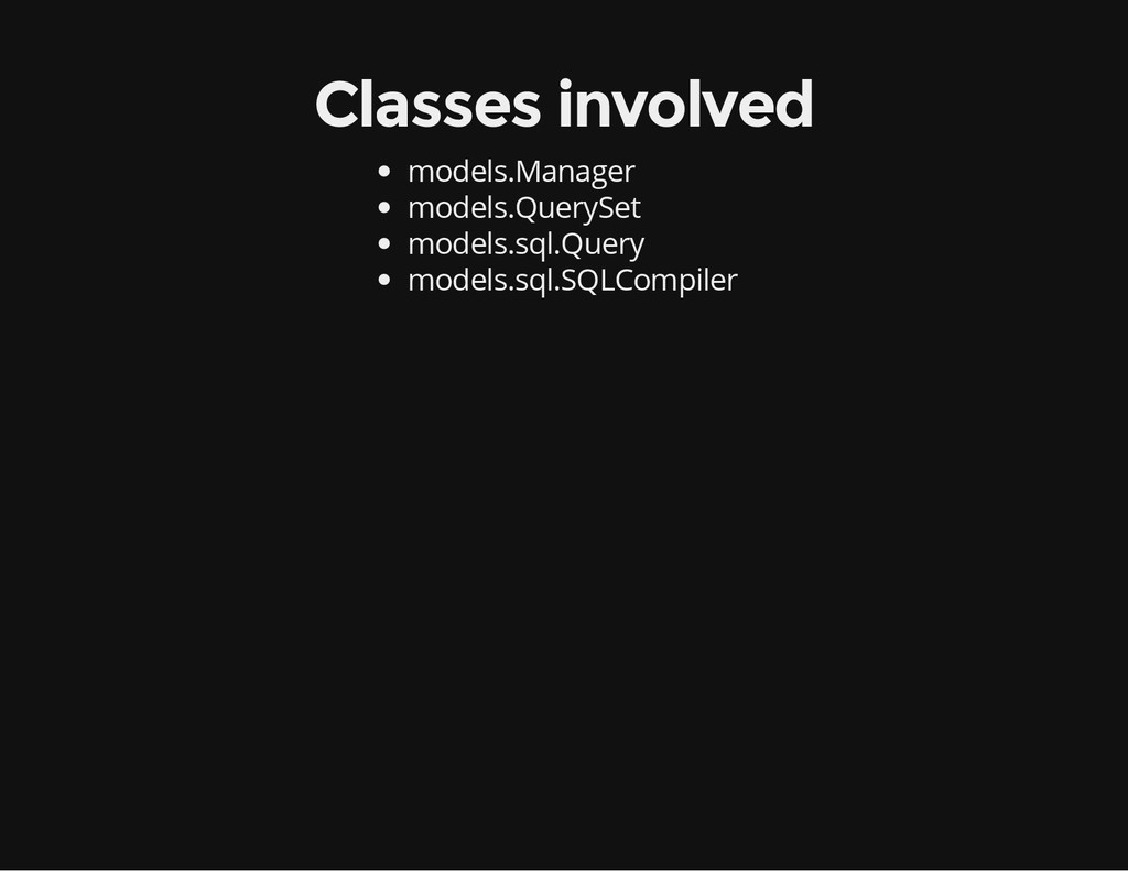 Classes involved models.Manager models.QuerySet...