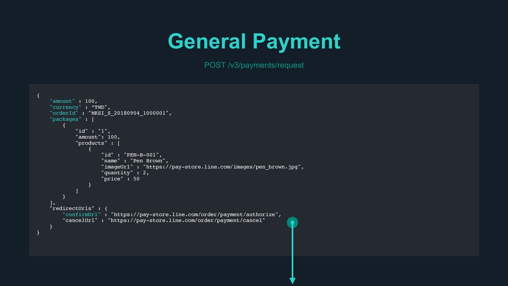 """General Payment POST /v3/payments/request { """"am..."""