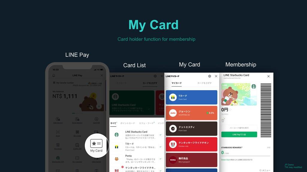 LINE Pay Card List My Card Membership My Card C...