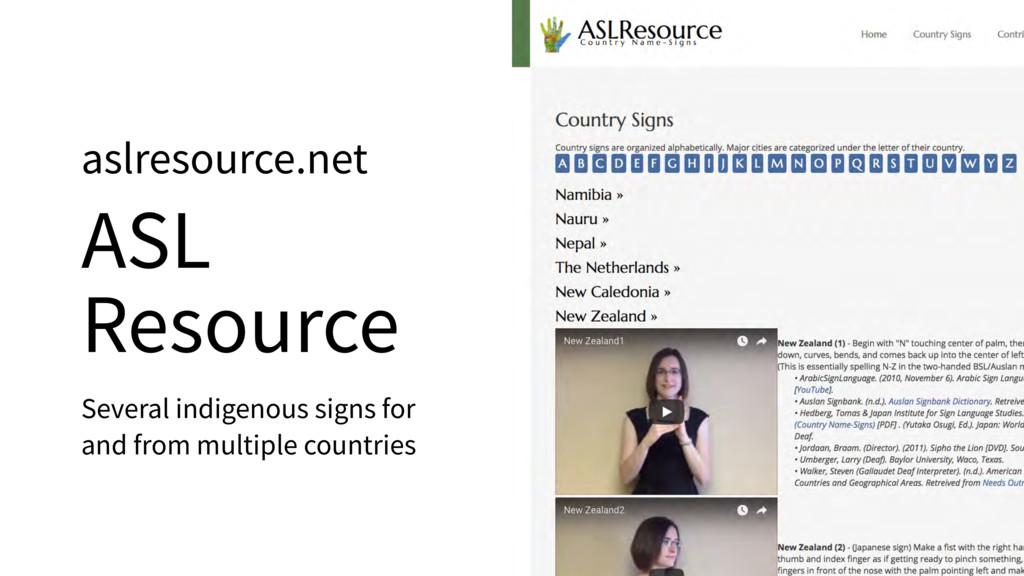 aslresource.net ASL Resource Several indigenous...