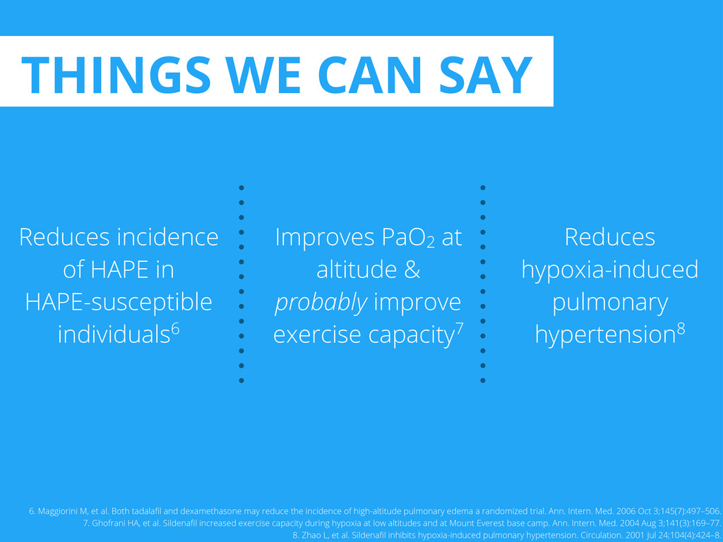 THINGS WE CAN SAY Reduces incidence of HAPE in ...