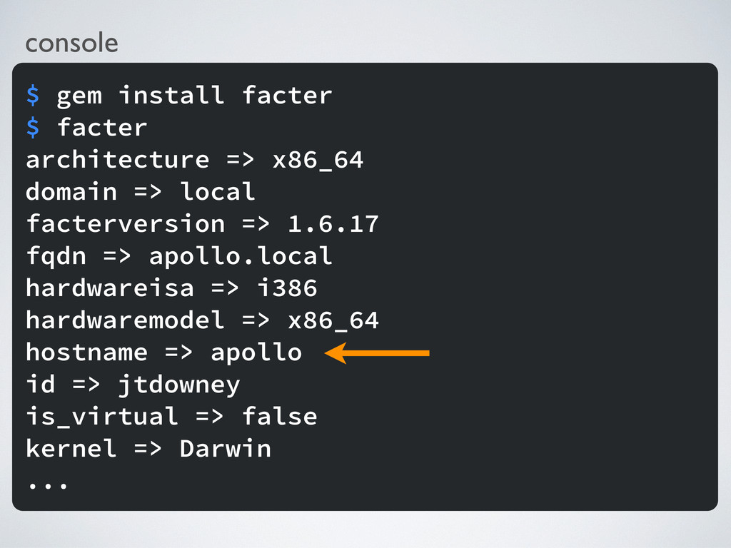 console $ gem install facter $ facter architect...