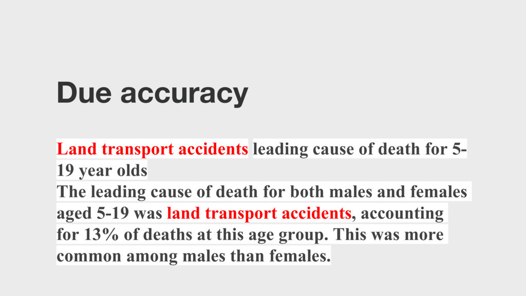 Due accuracy Land transport accidents leading c...