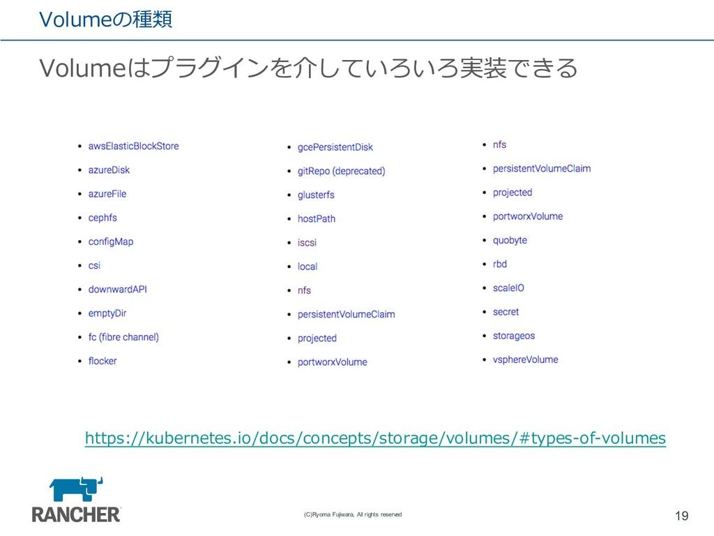 Volumeの種類 Volumeはプラグインを介していろいろ実装できる 19 (C)Ryoma...
