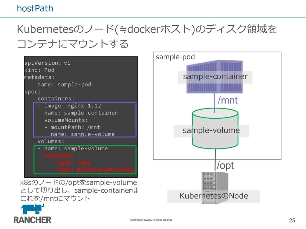 hostPath Kubernetesのノード(≒dockerホスト)のディスク領域を コンテ...