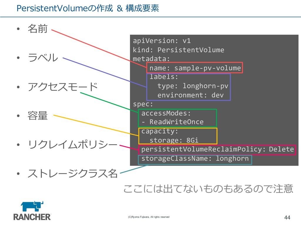 PersistentVolumeの作成 & 構成要素 • 名前 • ラベル • アクセスモード...