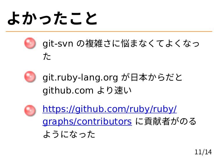 よかったこと git-svn の複雑さに悩まなくてよくなっ た git.ruby-lang.o...